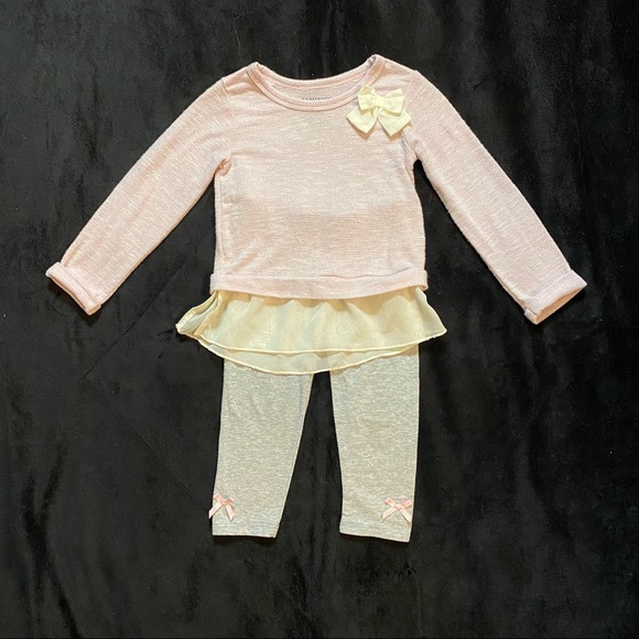Healthtex girls 2-piece pink and gray outfit